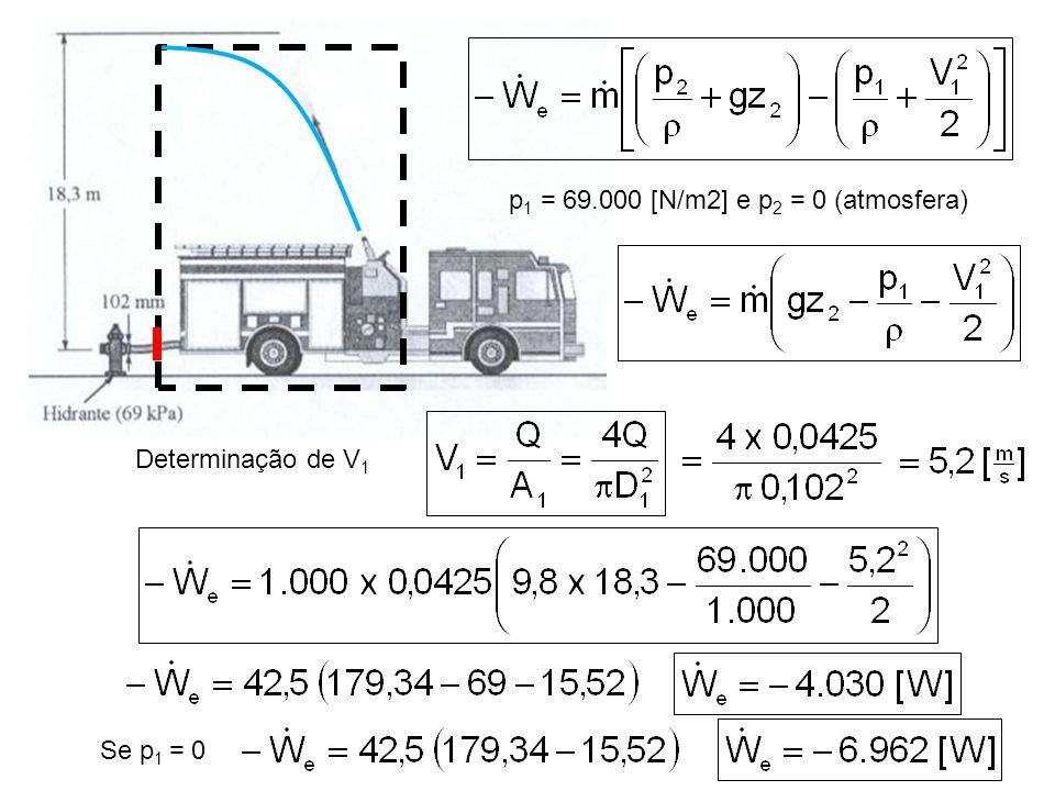 p1 = 69.000 [N/m2] e p2 = 0 (atmosfera)